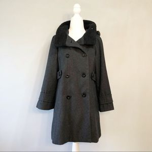 Wool Blend Double Breasted Peacoat by Forever 21